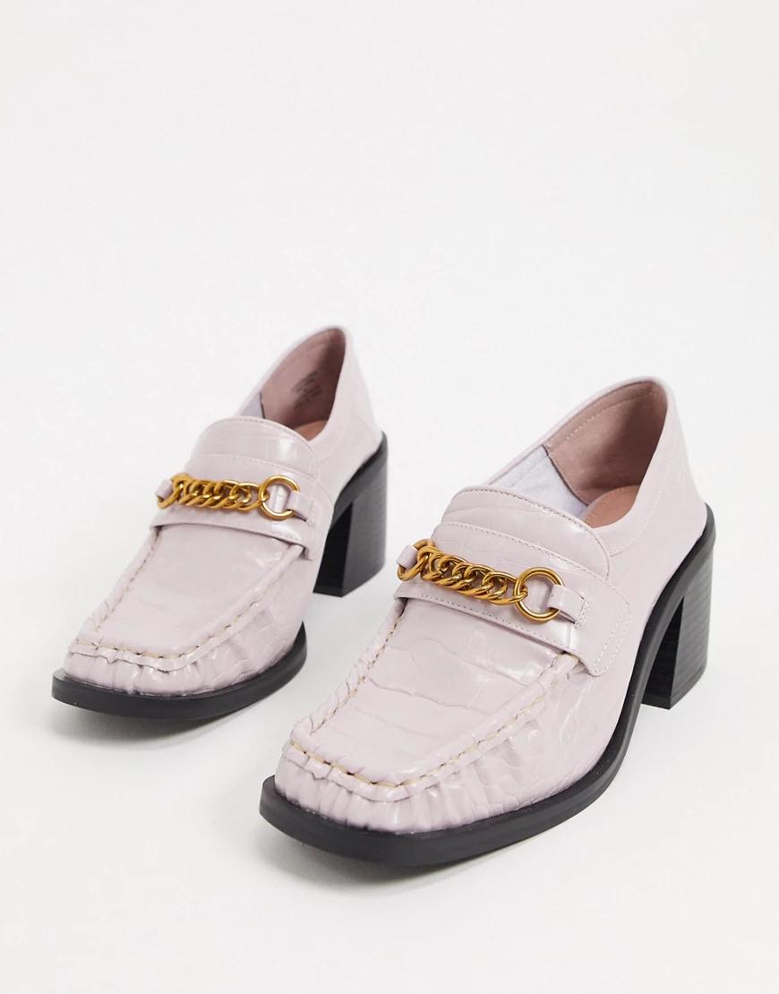 ASOS DESIGN | Лавандовые лоферы на массивном каблуке с крокодиловым узором ASOS DЕSIGN-Фиолетовый | Clouty