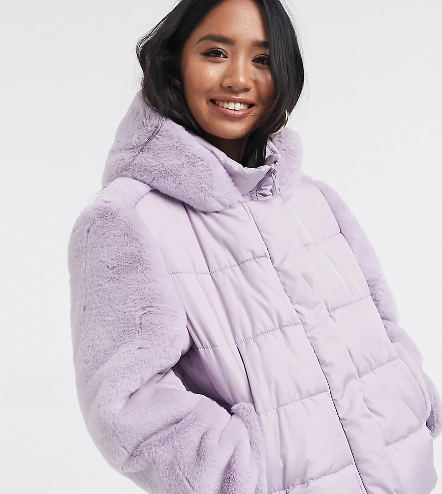 ASOS | Лавандовая дутая куртка со вставками из искусственного меха ASOS DESIGN Реtitе-Фиолетовый | Clouty