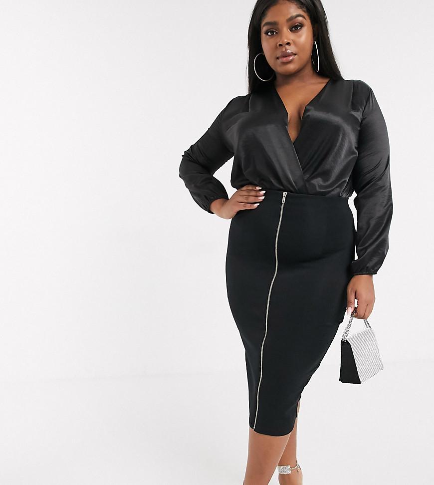 ASOS DESIGN | Моделирующая юбка-карандаш с завышенной талией и молнией ASOS DESIGN Сиrvе-Черный | Clouty