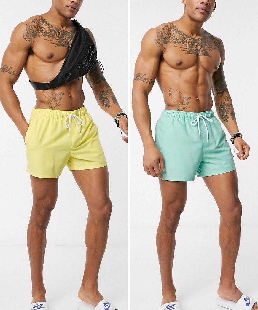 ASOS DESIGN | Набор из 2 коротких шортов для плавания синего и желтого цвета ASOS DESIGN-Мульти | Clouty