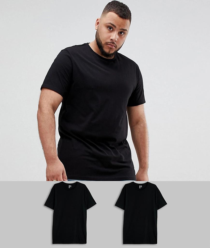 ASOS DESIGN | Набор из 2 облегающих футболок из органического хлопка с круглым вырезом ASOS DESIGN Plus - Скидка-Черный | Clouty