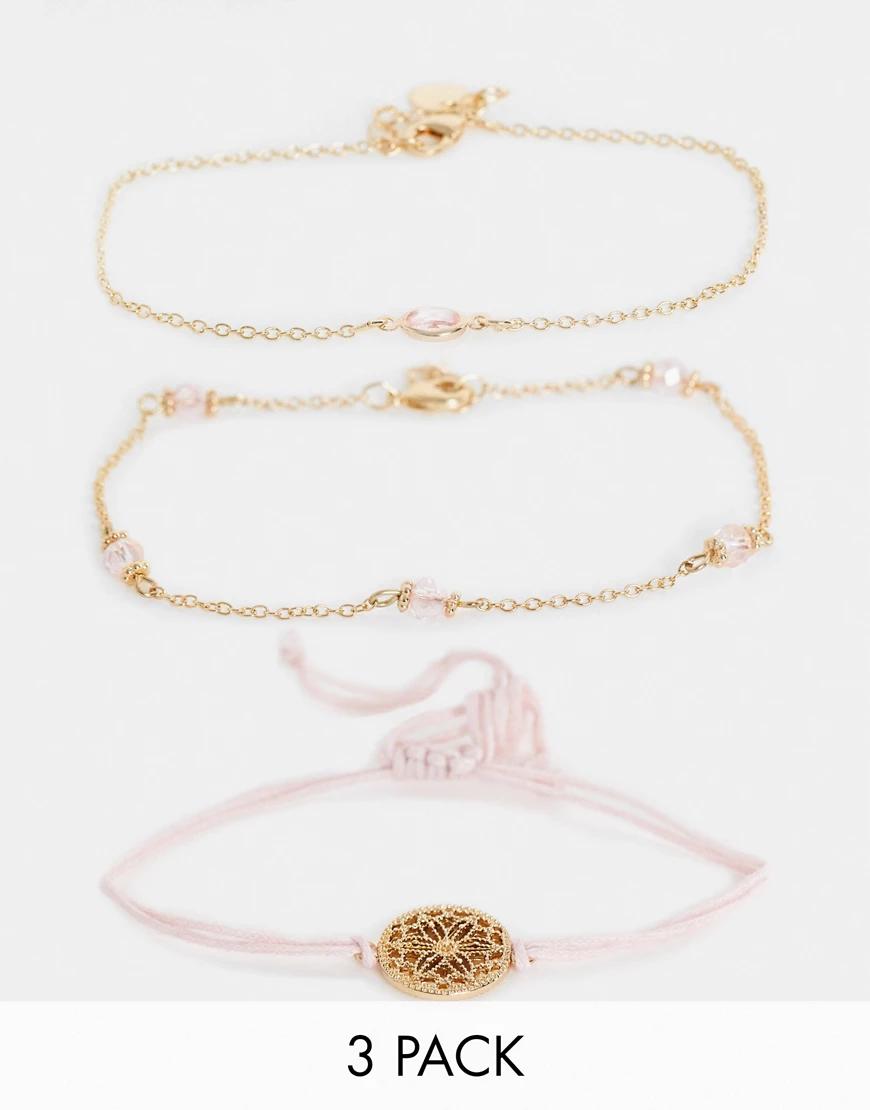 Accessorize | Набор из 3 браслетов золотистого и розового цвета Accessorize-Poзoвый | Clouty