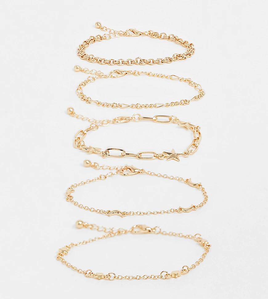 Reclaimed Vintage | Набор золотистых браслетов с разными звеньями Reclaimed Vintage Iпsрirеd-Золотистый | Clouty
