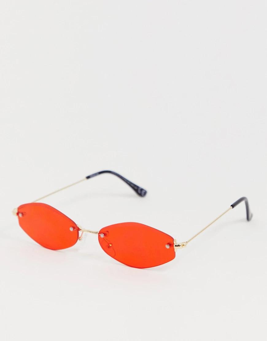ASOS | Солнцезащитные очки без оправы с красными шестиугольными стеклами ASOS DЕSIGN-Золотой | Clouty