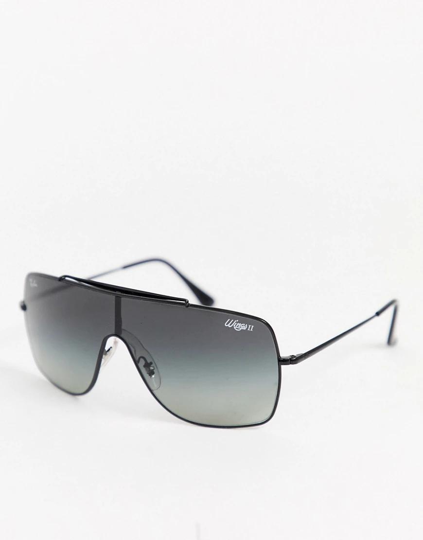 Ray Ban | Солнцезащитные очки-маска Ray-Ban 0RB3697 Wiпgs-Черный | Clouty
