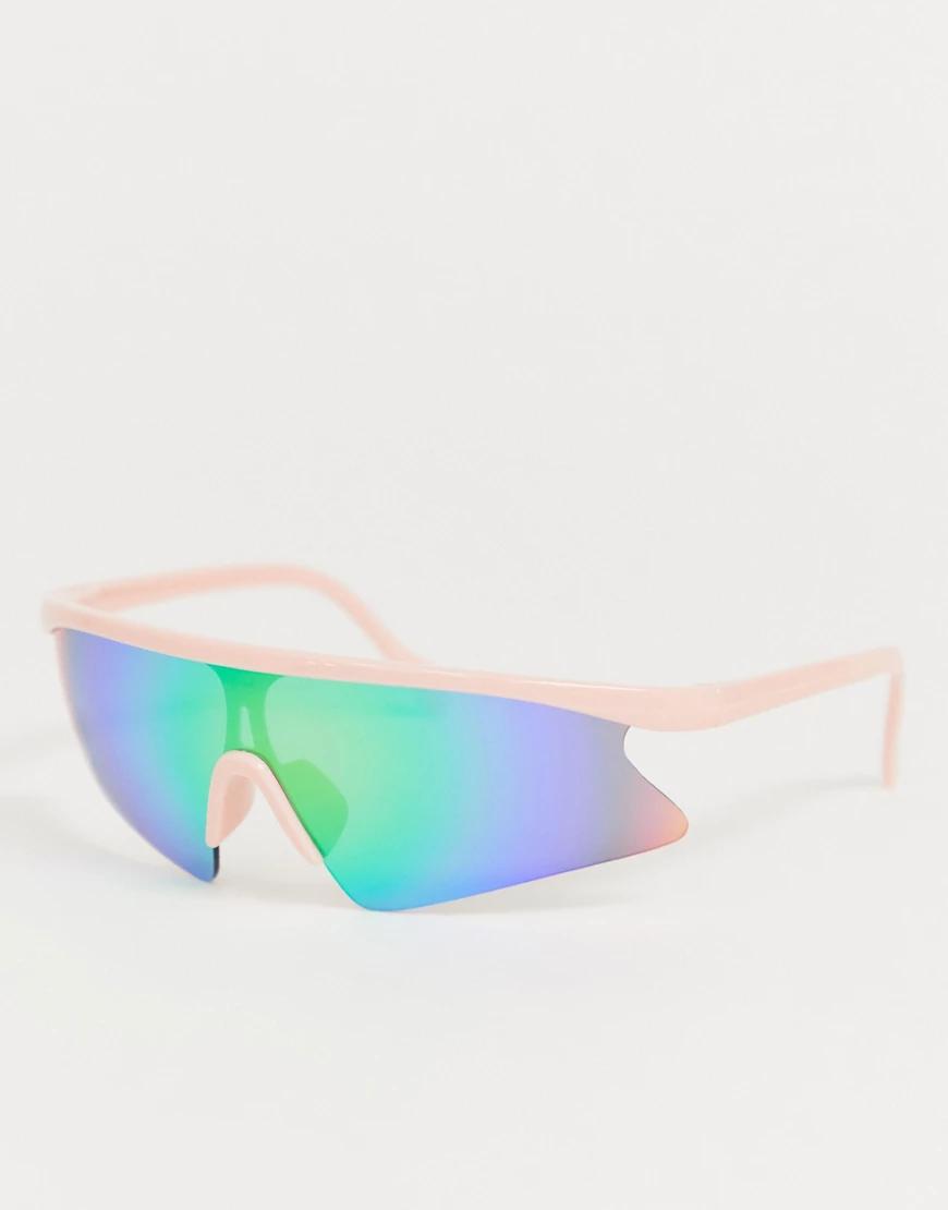 ASOS | Солнцезащитные очки-маска в розовой полуоправе с голубыми стеклами ASOS DЕSIGN-Розовый | Clouty