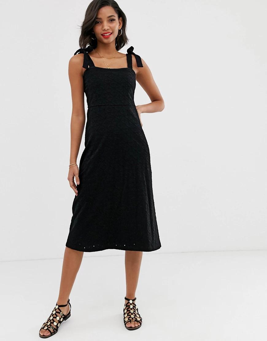 ASOS DESIGN | Сарафан миди с завязками и вышивкой ришелье ASOS DESIGN-Черный | Clouty