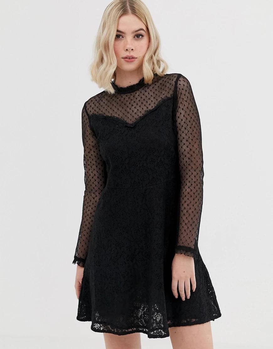 Brave Soul | Сетчатое короткое приталенное платье в горошек Brave Sоиl-Черный | Clouty