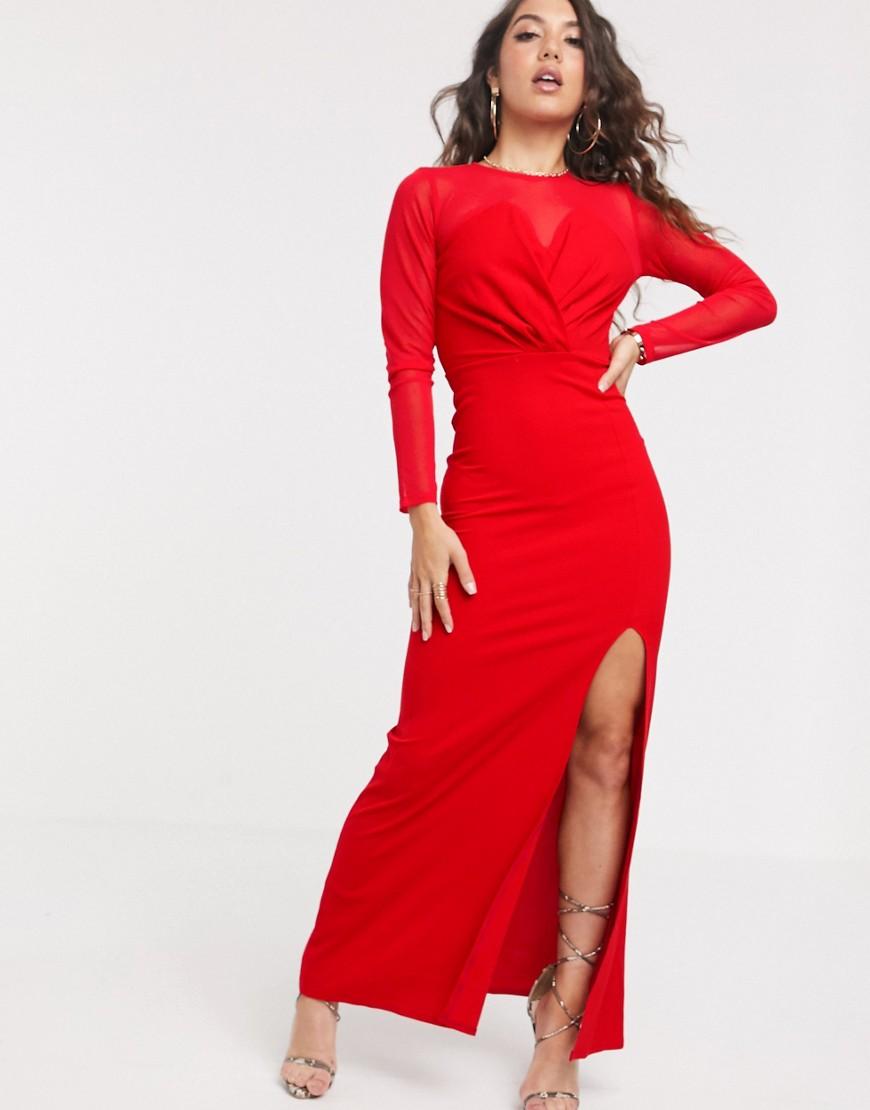 TFNC London | Сетчатое платье макси с длинными рукавами ТFNС-Красный | Clouty