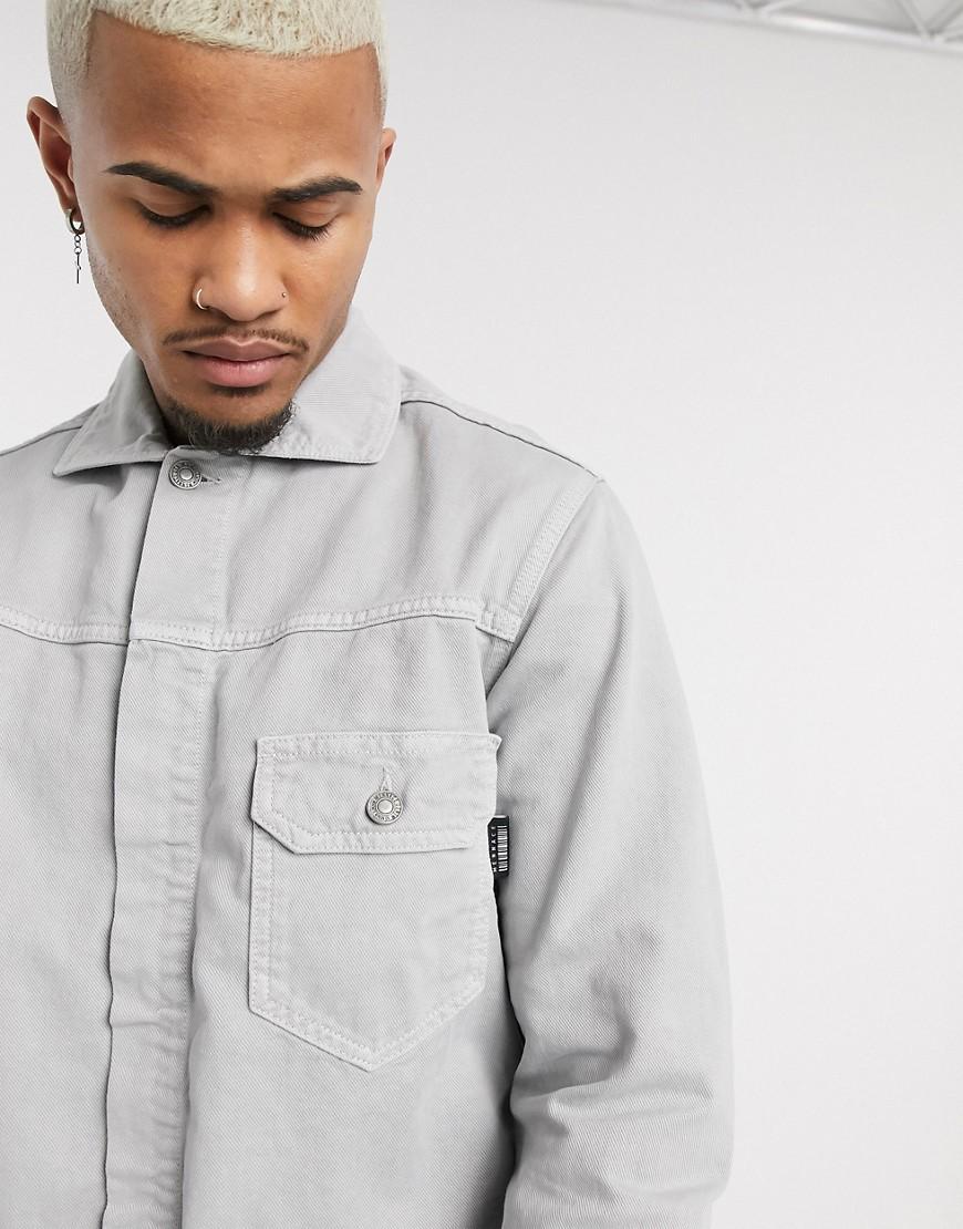 Mennace | Серая джинсовая куртка с карманом Mennace-Cepый | Clouty