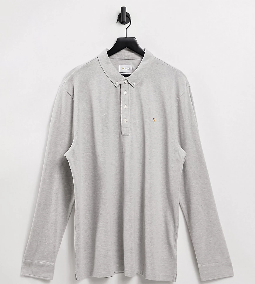 Farah | Серая рубашка-поло из пике с длинными рукавами Farah Ricky-Серый | Clouty