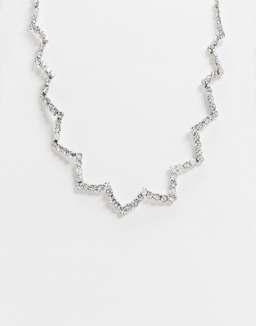 True Decadence   Серебристое ожерелье с цветочной отделкой True Dесаdепсе-Серебряный   Clouty