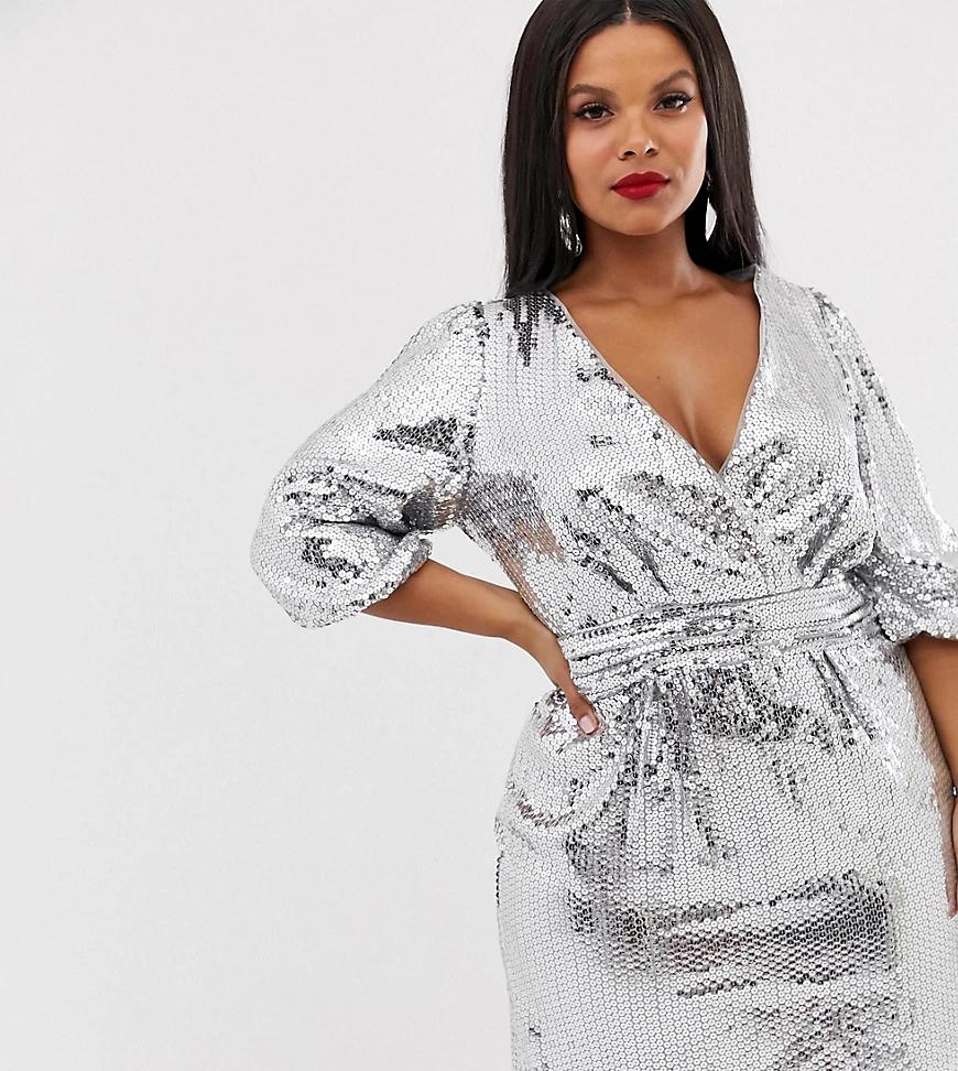 TFNC London | Серебристое платье мини с запахом и пайетками TFNC Рlиs-Серебряный | Clouty