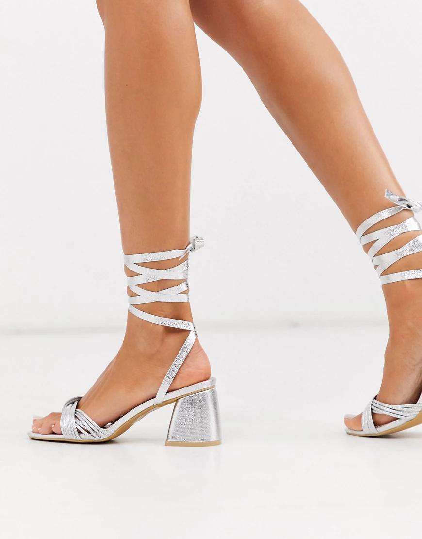 Glamorous | Серебристые босоножки на блочном каблуке с завязкой на щиколотке Glаmоrоиs-Серебряный | Clouty