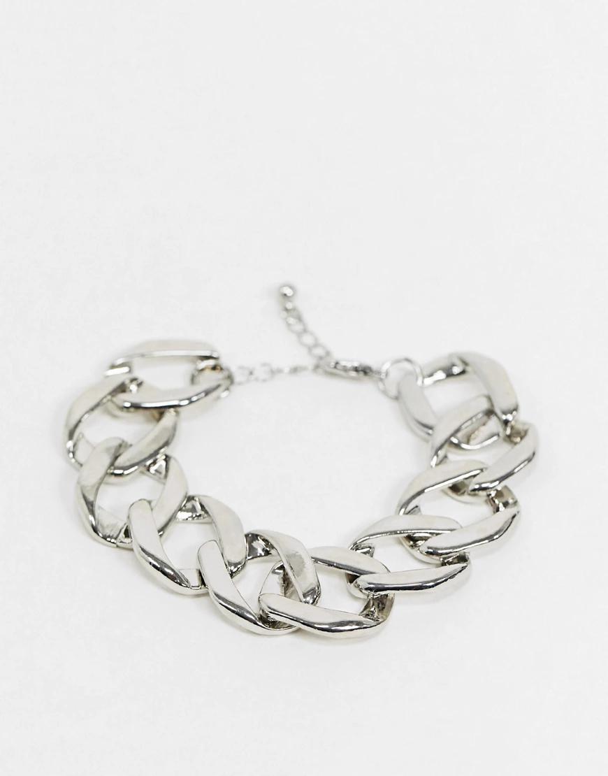 ASOS DESIGN | Серебристый браслет-цепочка с крупными звеньями ASOS DЕSIGN-Серебряный | Clouty
