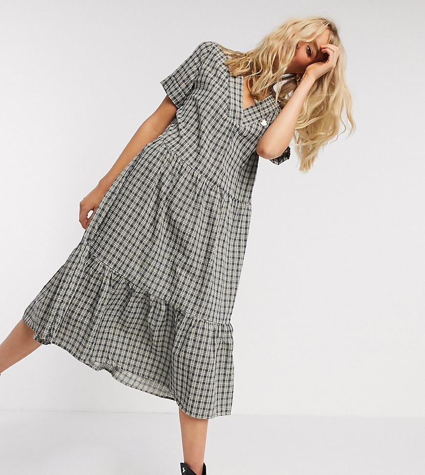 Only Tall | Серое ярусное платье миди в клетку Only Таll-Многоцветный | Clouty