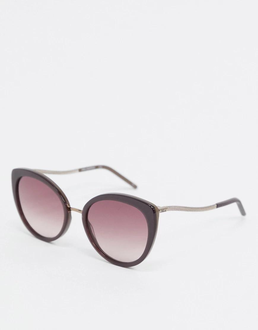 KARL LAGERFELD   Серо-коричневые круглые солнцезащитные очки Karl Lаgеrfеld-Коричневый   Clouty