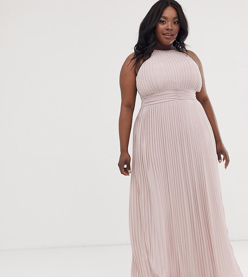 TFNC London | Серо-коричневое платье макси с плиссировкой и высоким воротом TFNC Рlиs-Бежевый | Clouty