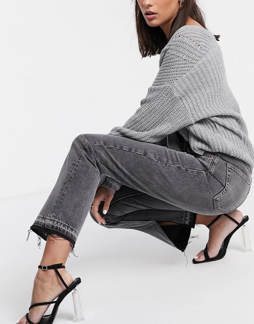 TOPSHOP | Серые джинсы с разрезами Topshop-Cepый | Clouty