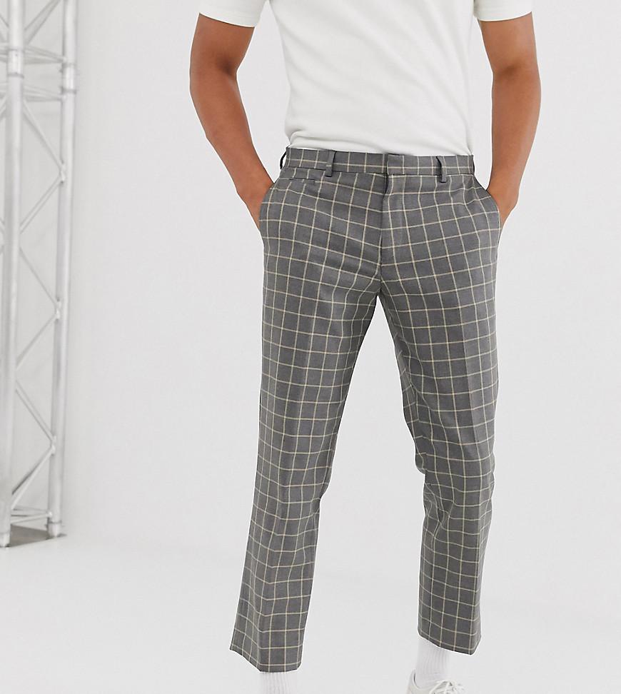 Noak | Серые укороченные узкие брюки в клетку Nоак-Серый | Clouty