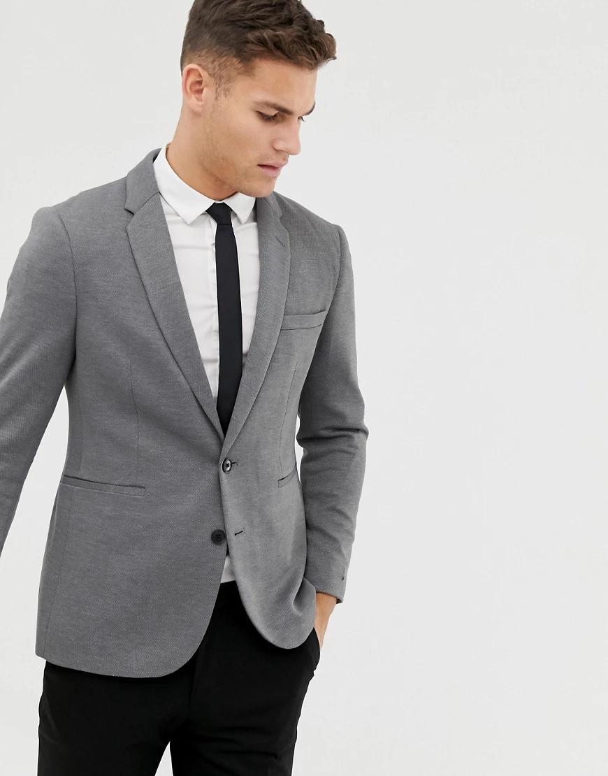 BURTON | Серый блейзер из ткани пике Burton Menswear | Clouty