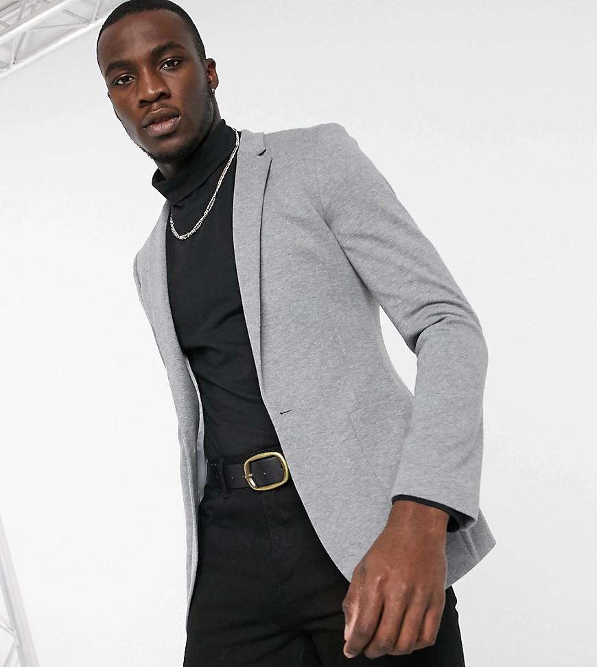 ASOS DESIGN | Серый супероблегающий пиджак из трикотажа с поясом ASOS DESIGN Tall | Clouty