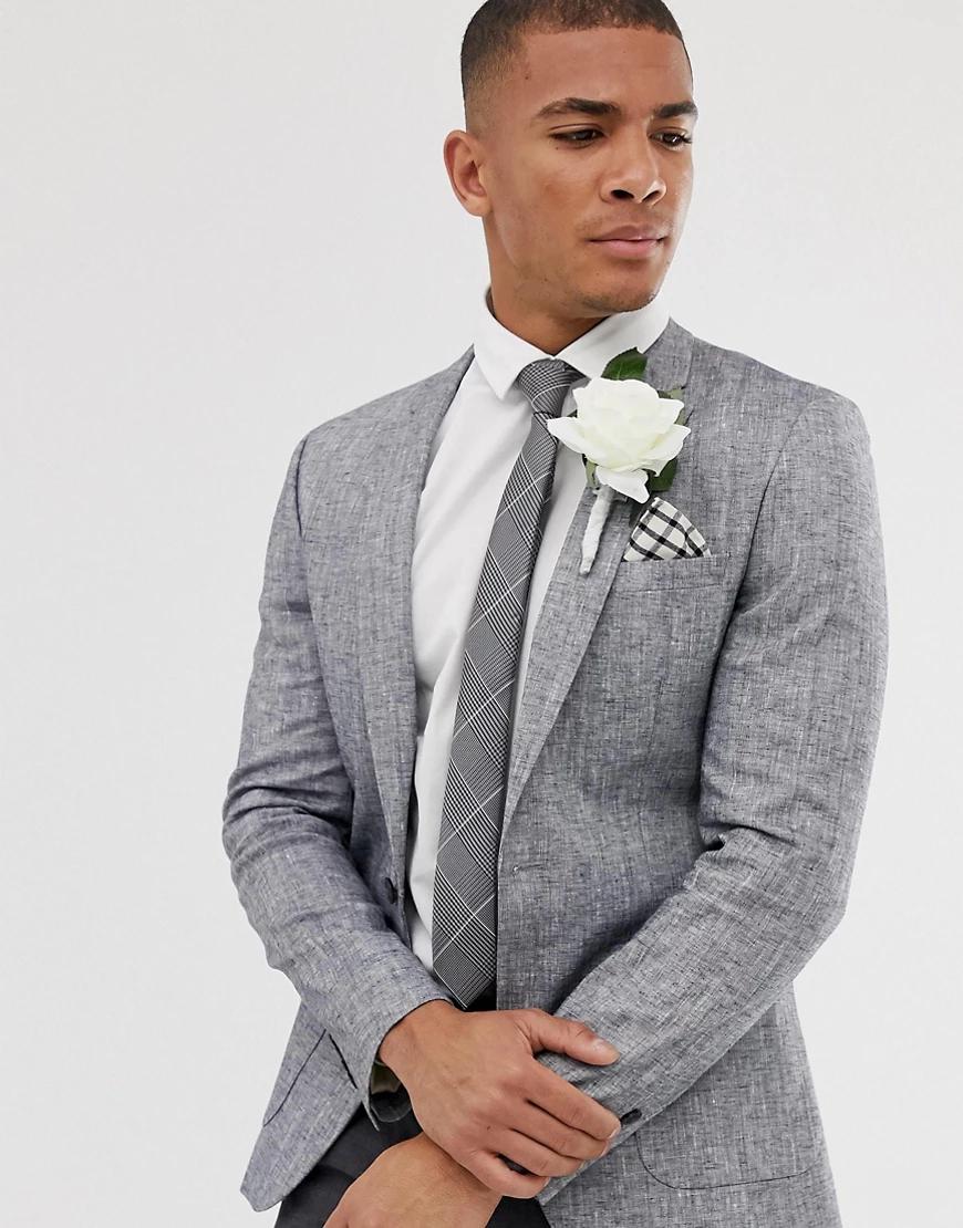 ASOS DESIGN   Серый свадебный льняной блейзер облегающего кроя со штрихованным узором ASOS DESIGN-Cuнuй   Clouty