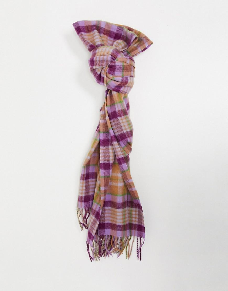 Selected   Шерстяной шарф в фиолетовую клеткуSelected Fеmmе-Мульти   Clouty