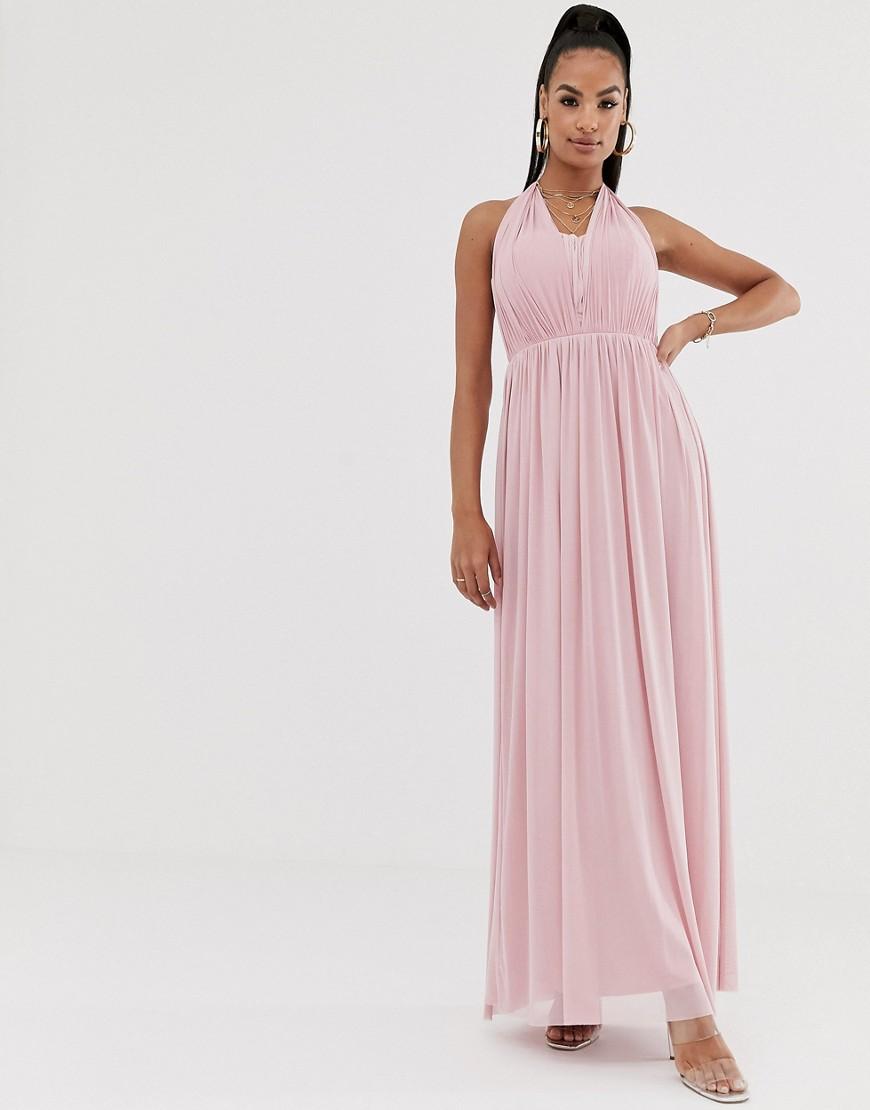 Lipsy | Шифоновое платье макси с халтером Liрsу-Розовый | Clouty