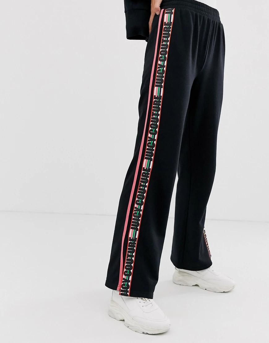 Juicy Couture   Широкие спортивные штаны с фирменной лентой Juicy Couture-Чepный   Clouty