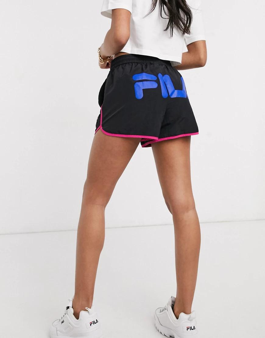 FILA | Шорты с контрастной окантовкой и логотипом Filа-Черный | Clouty