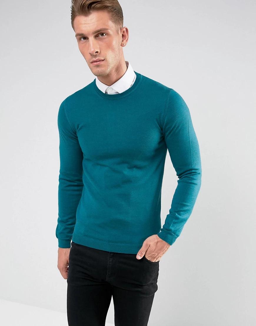 ASOS DESIGN   Сине-зеленый узкий джемпер из мериносовой шерсти ASOS   Clouty