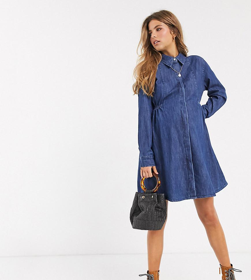 ASOS DESIGN   Синее джинсовое платье-рубашка с присборенной отделкой ASOS DESIGN Maternity-Cuнuй   Clouty