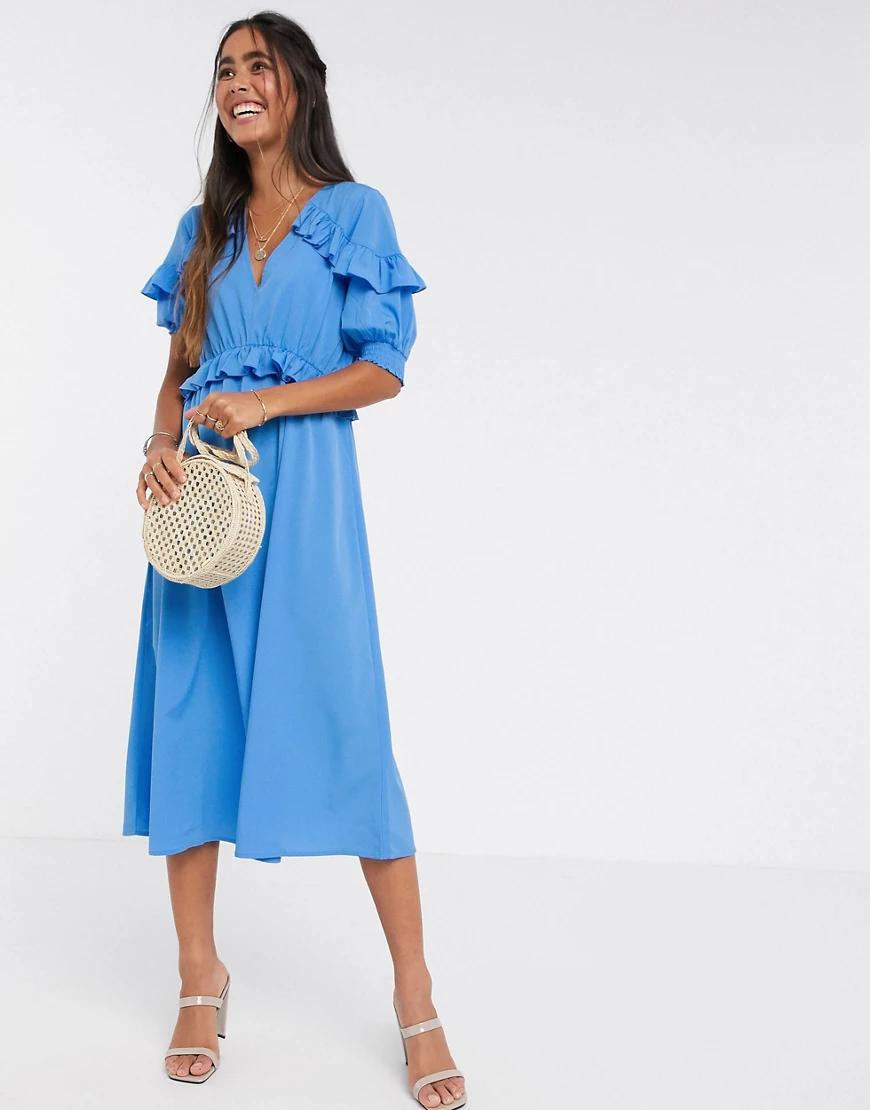Y.A.S. | Синее платье миди с оборками Y.А.S-Синий | Clouty