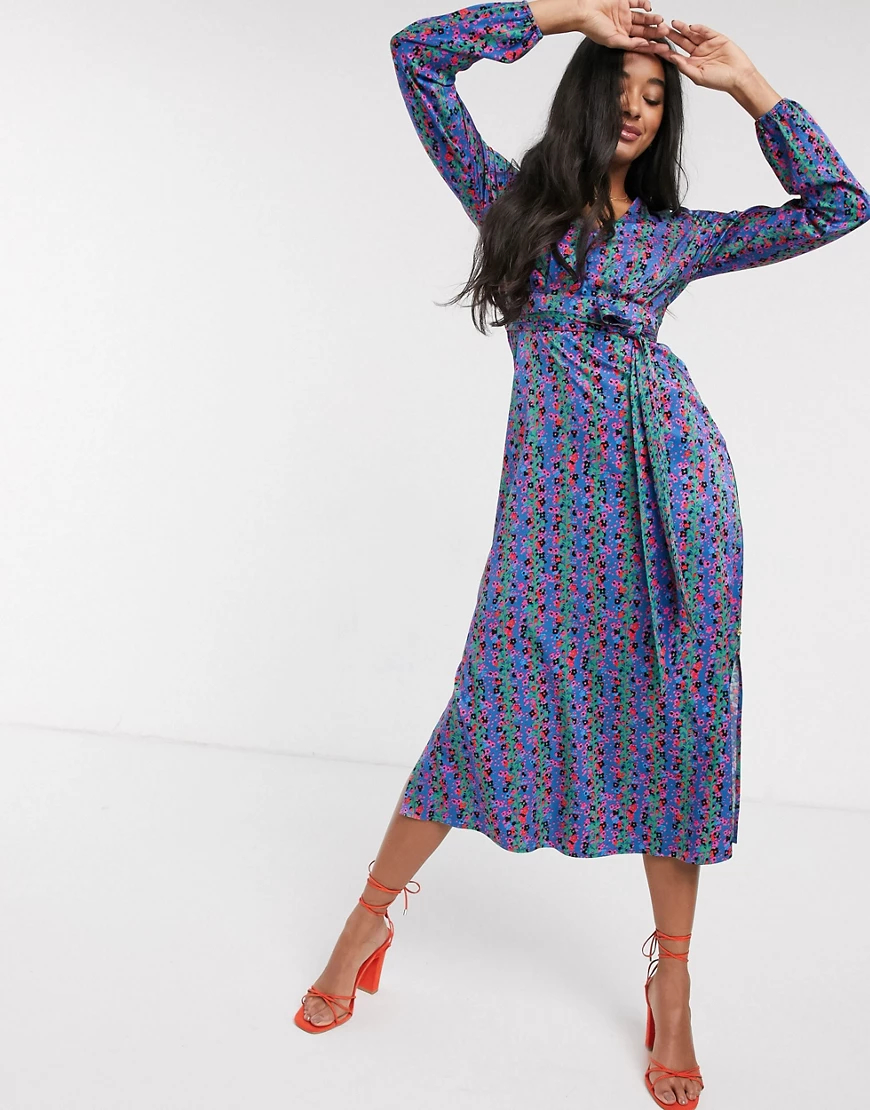 Fabienne Chapot | Синее платье миди с цветочным принтом Fabienne Chapot-Cuнuй | Clouty