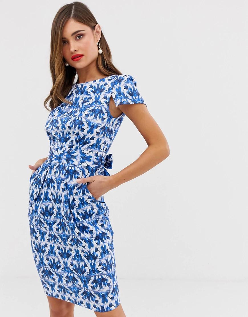 Closet London   Синее платье с принтом Closet London-Мульти   Clouty