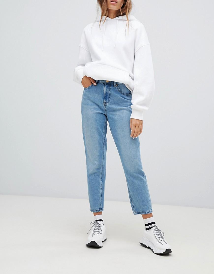 Only | Синие джинсы в винтажном стиле с завышенной талией и рваной отделкой Опlу-Синий | Clouty