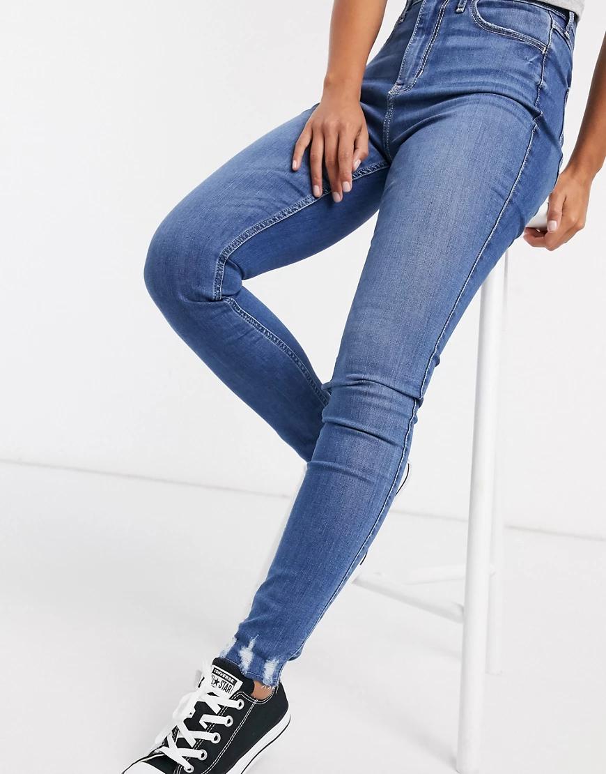Hollister | Синие джинсы с эффектом потертости Hollister-Cuнuй | Clouty