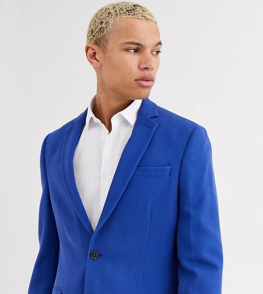 ASOS DESIGN | Синий фактурный пиджак приталенного кроя ASOS DESIGN Таll-Голубой | Clouty