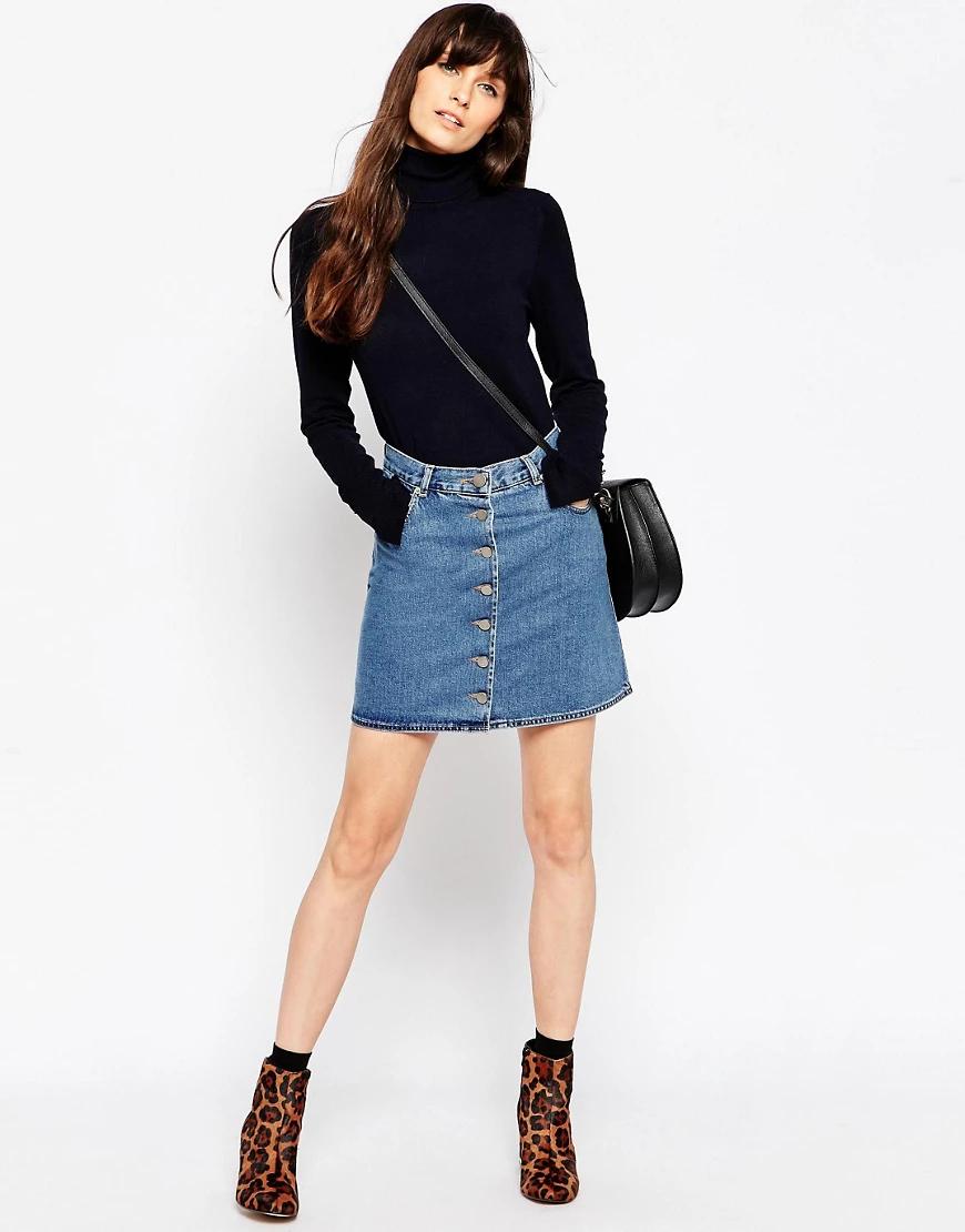 ASOS DESIGN | Синяя джинсовая юбка на пуговицах АSОS-Голубой | Clouty
