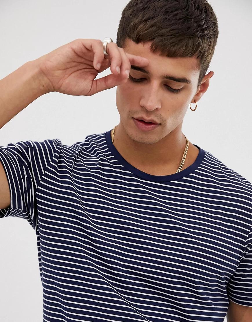 Celio | Синяя футболка в полоску с круглым вырезом Celio-Синий | Clouty