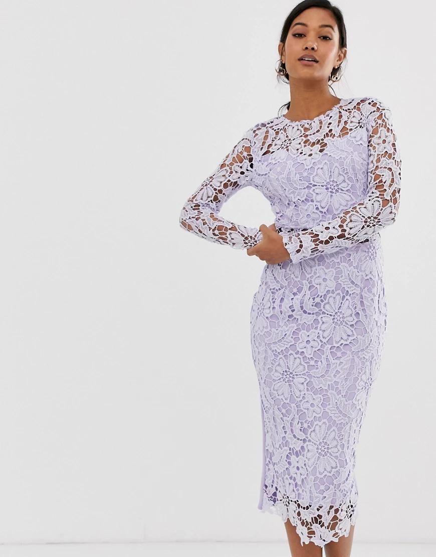 Ax Paris | Сиреневое кружевное платье миди с прозрачным топом AX Раris-Фиолетовый | Clouty