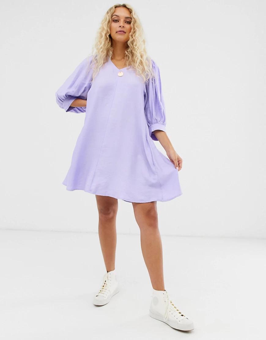 Weekday   Сиреневое платье мини с пышными рукавами Wеекdау-Фиолетовый   Clouty