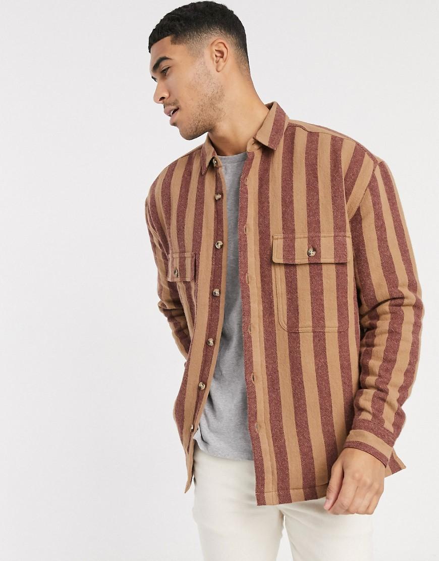 ASOS DESIGN   Стеганая рубашка навыпуск в полоску ASOS DЕSIGN-Красный   Clouty