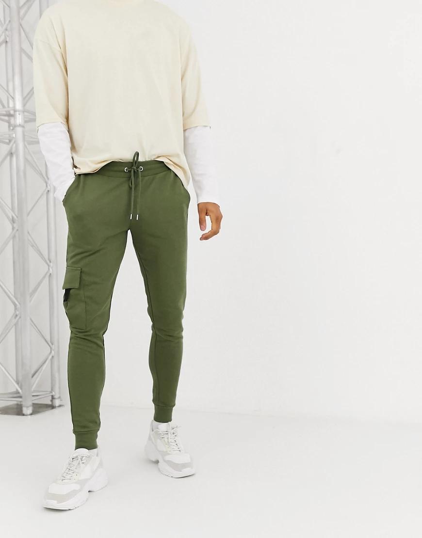 ASOS | Суженные книзу джоггеры с карманами карго ASOS DЕSIGN-Зеленый | Clouty