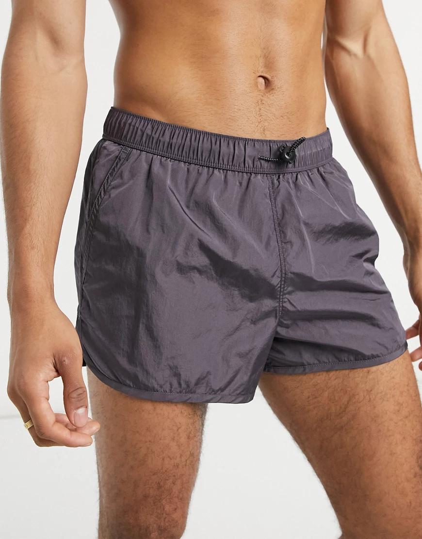 ASOS DESIGN | Суперкороткие спортивные шорты для плавания темно-серого цвета на эластичном шнурке ASOS DESIGN-Cepый | Clouty