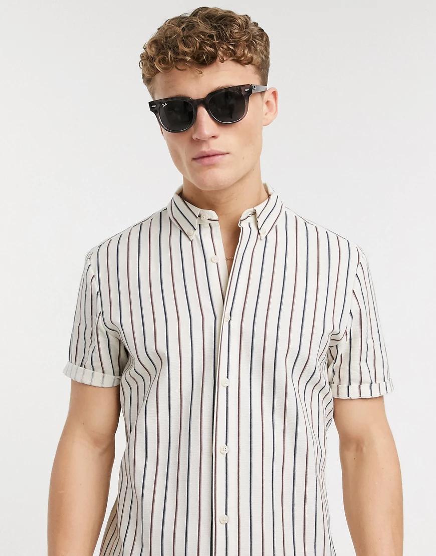 ASOS DESIGN | Светло-бежевая рубашка от комплекта в полоску ASOS DЕSIGN-Бежевый | Clouty