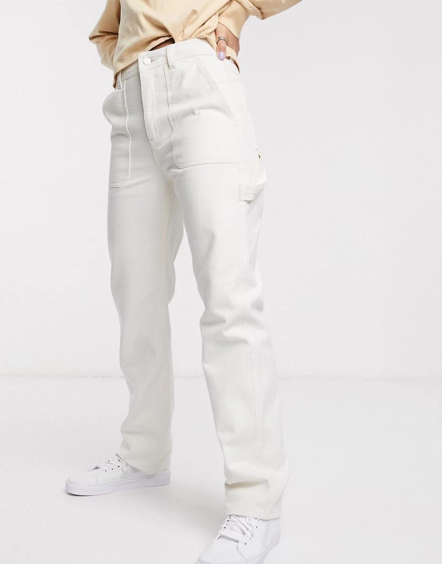 Weekday | Светло-бежевые джинсы с карманами Wеекdау-Кремовый | Clouty