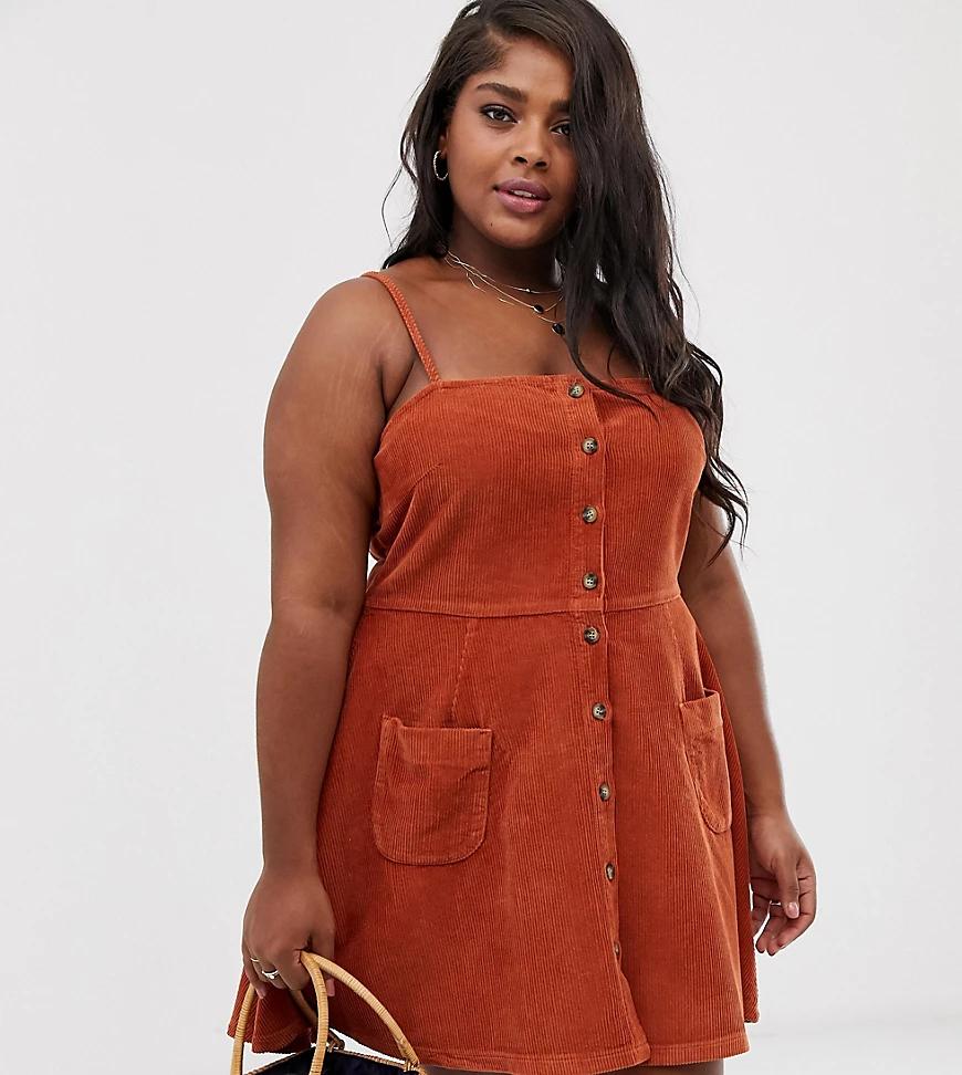ASOS DESIGN | Светло-коричневое вельветовое платье мини на пуговицах ASOS DESIGN Сиrvе-Светло-коричневый | Clouty