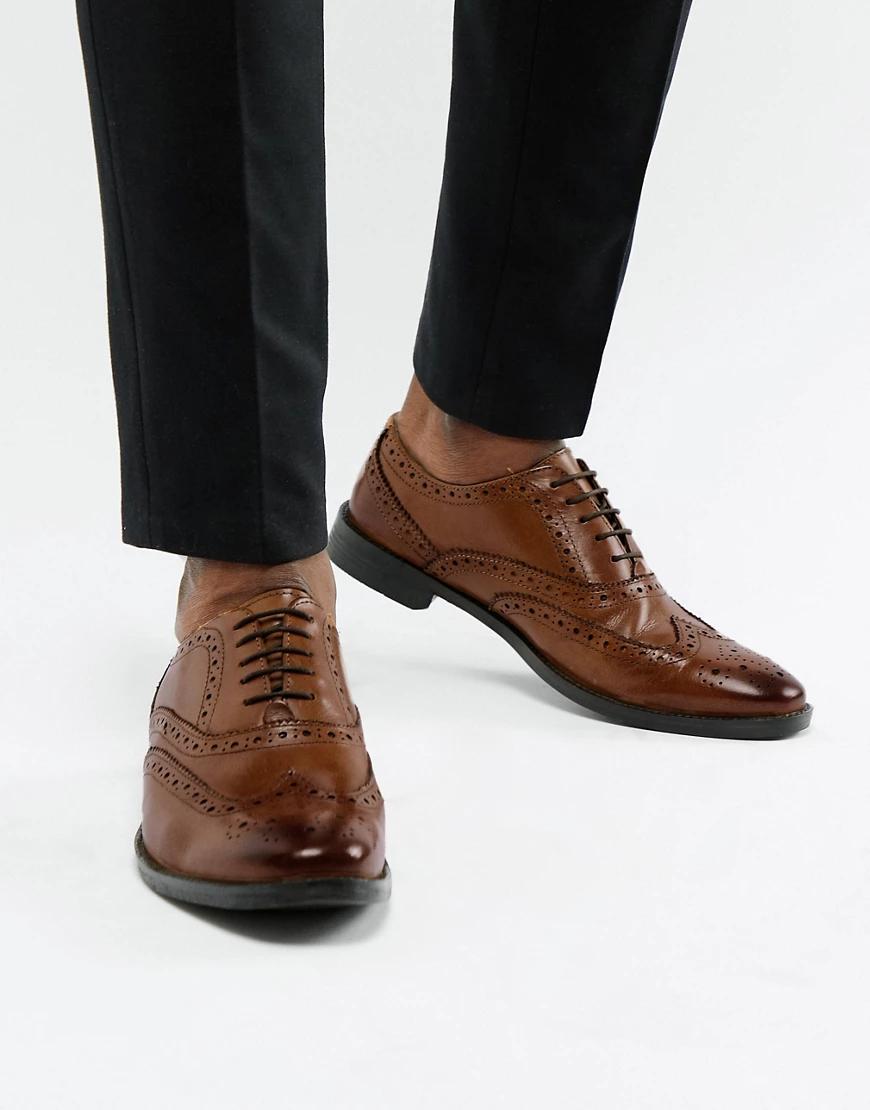 ASOS | Светло-коричневые оксфордские туфли-броги из кожи ASOS DЕSIGN-Светло-коричневый | Clouty
